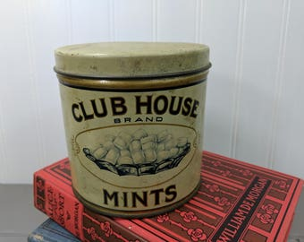 Antique Club House Brand Mints Tin, Franklin MacVeagh & Co. Chicago Illinois Made By Liberty Can Company, Lancaster Pennsylvania