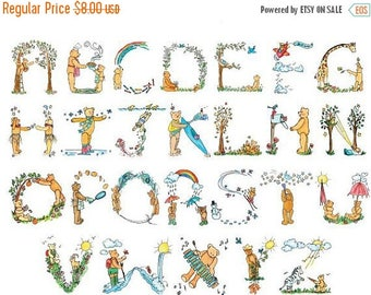 "teddy bear alphabet Counted Cross Stitch teddy bear pattern modern cross stitch, needlepoint - 31.49"" x 23.36"" - L834"