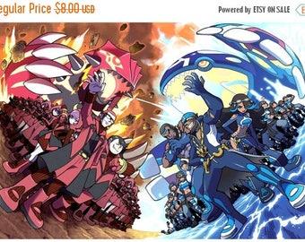 """Pokemon Counted Cross Stitch  ORAS Aqua vs Magma Pattern Pokemon modern cross stitch needlepoint - 25.07"""" x 17.00"""" - L853"""