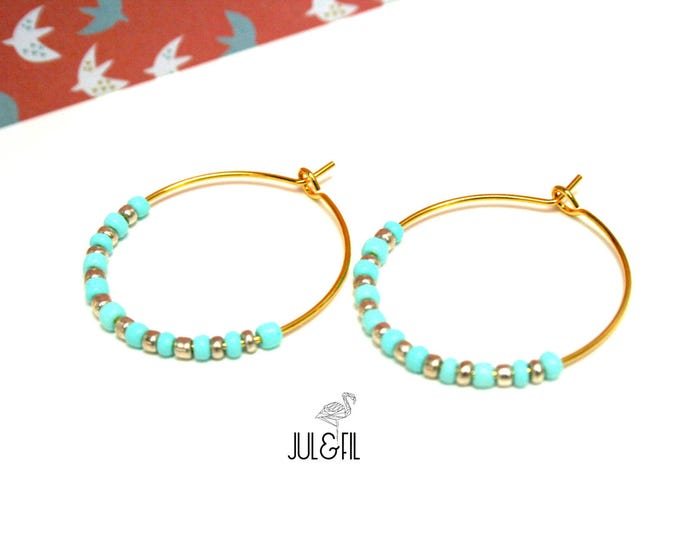 Brass gilded with fine gold 24K gold and light turquoise beads