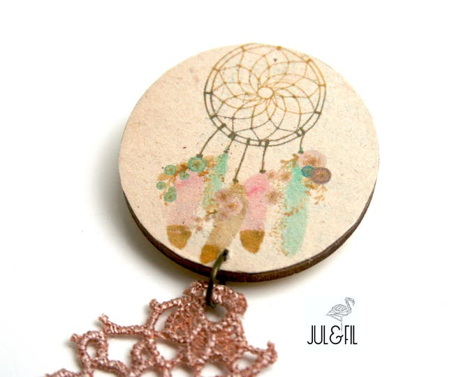 Brooch dream catcher dream catches natural wood ethics old paper, pink gold lace