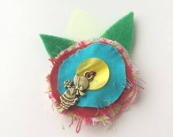 Kids blue flower and yellow heart - textile brooch - hair jewelry hair clip