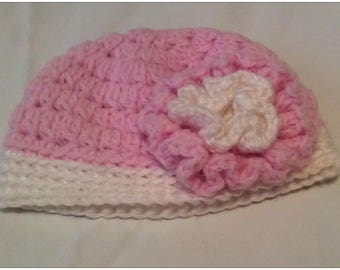 Pink Baby Crochet Hat with Flower