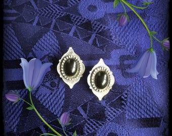 Vintage big metal silver and black clip-on earrings