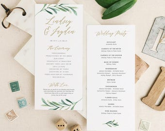 Greenery Wedding Programs Template • Printable Wedding Program • Garden Rustic Theme • Editable in Word/Pages • MAC/PC