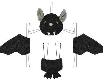 4Pc Black Bat Wreath Decor Kit/Wreath Supplies/Bat Wreath Kit/Halloween Decoration/HH7304