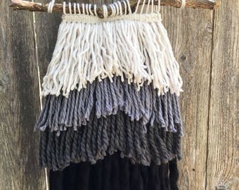 Gray black gradient ombre fringe woven wall hanging