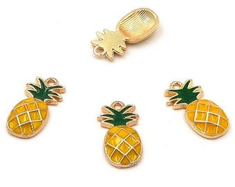 10 enameled charms pineapple 23mm