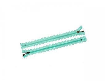 5 zippers lace Mint Green 20cm