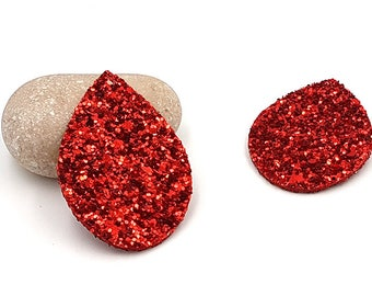 10 charms faux leather sequins glitter red shape drop 55mm