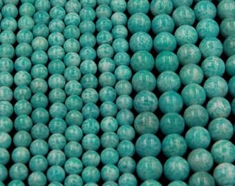 "Natural Russian Amazonite 10mm Round Beads, 14mm Round Beads Sea Blue Beads 16"" Strand"
