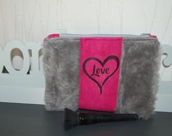 """Makeup pouch faux fur""""Love"""""""