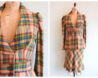 Vintage 1970's Rainbow Plaid Skirt Set | Size Small