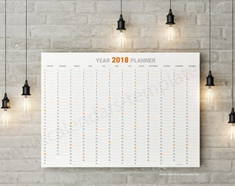 Year Planner 2018 Big Yearly Printable Wall Planner Calendar Agenda Annual Template - KP-W23