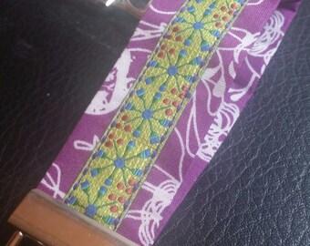 Key Chains-Key Rings-Key Fobs-Purple Floral n' Lime Green Ribbon