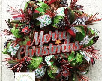 Merry Christmas Wreath, Sparkle Wreath, Burst Wreath, Rustic Christmas, Retro Christmas