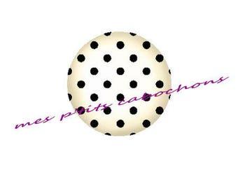 18 mm - nice Ref 4 polka dot glass cabochon