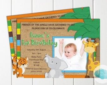 Personalised Baby Animal Safari Themed Birthday Invitations with Envelopes