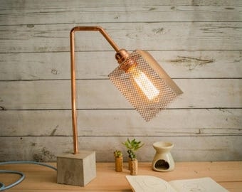 "10% OFF Industrial concrete copper table lamp, Industrial lamp, Table lamps, Copper lamp, Edison lamp, Concrete light, Table lamp, Model ""La"