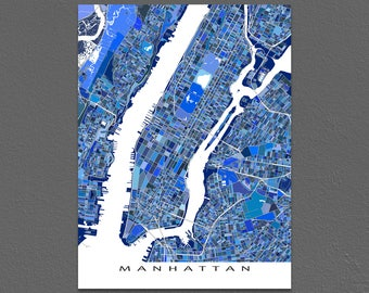 Manhattan Map Print, NYC Map, New York Cityscape Map, Central Park