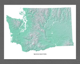 Washington Map Print, Washington State, Aqua, WA Landscape Art