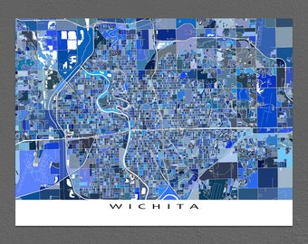 Wichita Kansas, Wichita Map Art Print, Kansas State City Street Maps