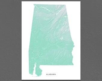 Alabama Map Print, Alabama State, Aqua, AL Landscape Art