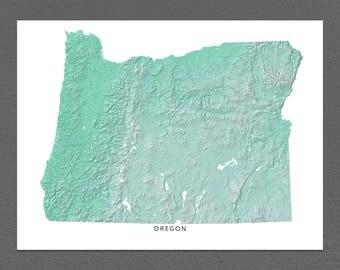 Oregon Map Print, Oregon State, Aqua, OR Landscape Art