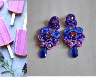 SALE -30 % Purple Blue Soutache Earrings  Swarovski crystals