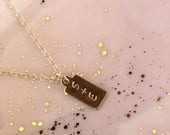 Choose Your Size -Tiny, Very Small, Small Gold Tag Necklace Gold Name Tag/ Dainty Gold Necklace, Simple Gold Necklace, Initial Jewelry LP347