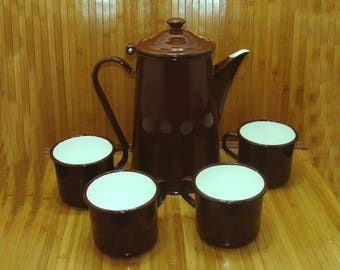 Vintage enamelware coffee set - old enamel ware coffee pot and cups-old brown white enamelware-old west-vintage western-chuckwagon coffee