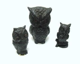 Vintage owl figurine lot-unique coal owls collection
