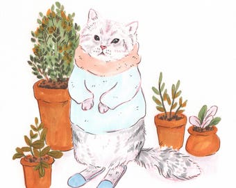 Cat lover gift, cat print, cat painting, cat portrait, plant prints, kawaii cat, kawaii art print, animal art, animal print, cat lady gift