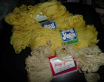 Vintage Coats & Clark's Rug Yarn Skeins Canary Yellow And Straw Colors