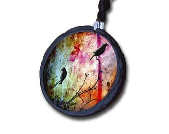 Slate birds perched on branch necklace