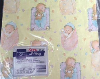 Vintage Baby shower gift wrapping paper, swaddled baby, teddy bear, Ambassador