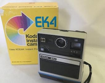 Vintage 1976 Kodak EK4 Instant Camera Similiar to Polaroid - With Original Box - Works Great - Uses Kodak Instant Print Film