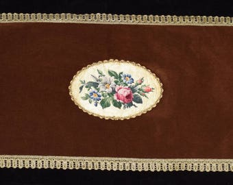Hand Made Vintage Brown Velvet Petit Point Gobelin Tapestry Runner  Tablecloth Centerpiece