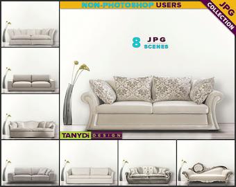 Living Room SC-02 | White Sofa Interior | 8 JPG Blank Living Room Wall Styled Scenes | Wall Decor Scene Creator