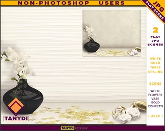 Table Styling | 2 Styled JPG Scenes | Non-Photoshop | White Table Black Vase | Roses Gold Confetti & Ribbon | Blank Empty wall
