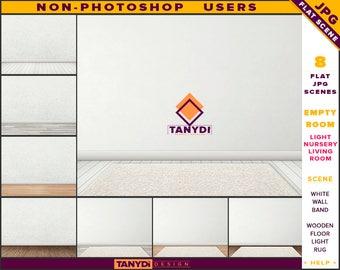 Empty Room JPG Interior Scene ER-C7 | Non-Photoshop | Blank White Plaster Brick Wall | Wooden Floor Rug | Product Display Scene Creator