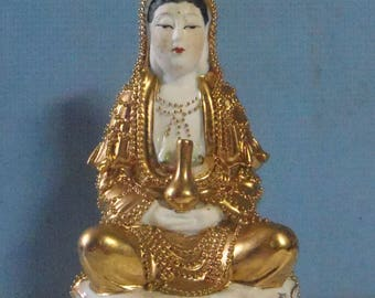Hand crafted hand painted ceramic statue Kwan Yin Goddess of Mercy