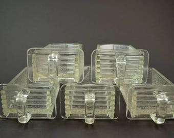 5 small German glass scoops / glass jars / glass drawers / pourer for kitchen cabinet / shabby / vintage