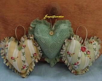 Shabby chic hearts,  shabby hearts, hearts, farmhouse decor,red hearts, stuffed hearts,hearts, prim decor,shabby decor,fabric heart,homespun