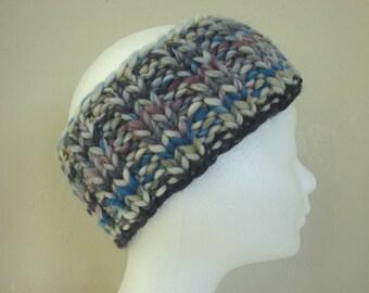 knit ear warmer gray purple blue green kids chunky head warmer boy comfortable knit thick yarn chunky multicolor hand knit headband girl