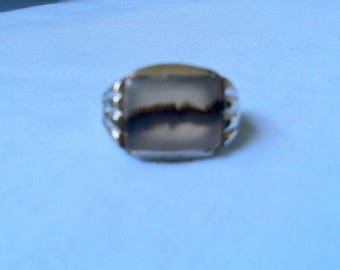 Vintage 1950 Uncas Sterling  Deco Montana Moss Agate Mens Ring