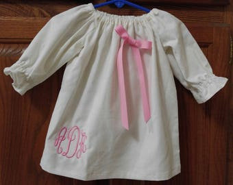Monogrammed Peasant Dress for Baby/Toddler/Girl, Fall Dress, Thanksgiving Dress, Christmas Dress