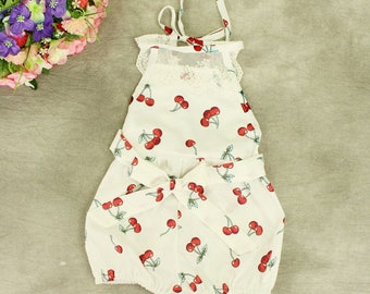 Presale White cherry printed lace romper strap bloomer for children girls, baby party bodysuit simple dress
