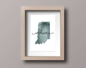 Indiana watercolor map, download printable, watercolor map, map printable, Indiana, state map