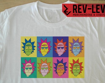 Rick and Morty Andy Warhol Inspired T-Shirt - Rick Sanchez Pop Art homage Tee by Rev-Level